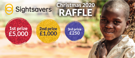 A banner for the Sightsavers Christmas Raffle 2020. The first prize is £5,000!